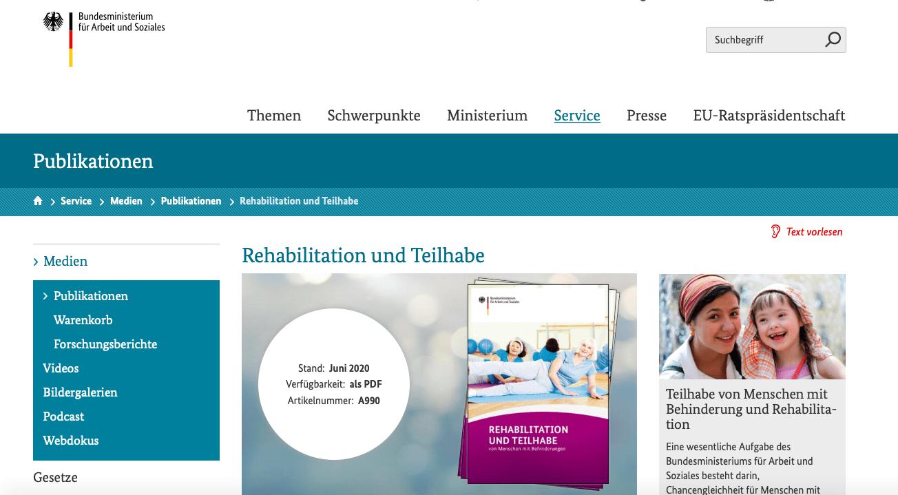 Websitetexte Ministerium BMAS