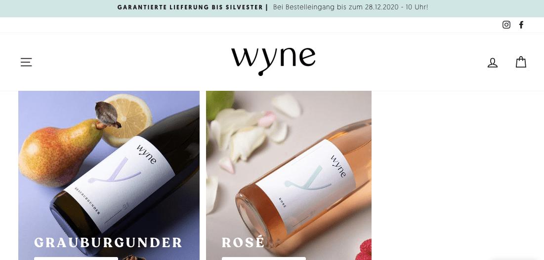 Corporate Content Weinhandel Wyne Website Texte
